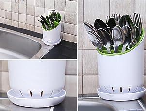 Livzing Kitchen Sink Dish Drainer Cutlery Spoon Knife Fork Holder Dryer Organizer Stand - White/Green