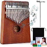 Kalimba 17 Teclas,Piano de pulgar con bolsa protectora,Martillo de afinación e Instrucción,Instrumento musical portátil para