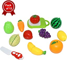Tempt™ - Realistic Sliceable Fruits Cutting Play Toy Set With Velcro for Kids (Pack of 12)