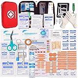 HONYAO EHBO-set, medische overleving, compacte kit met lichte harde box voor auto, motorfiets, thuis, op het werk, buiten, ca