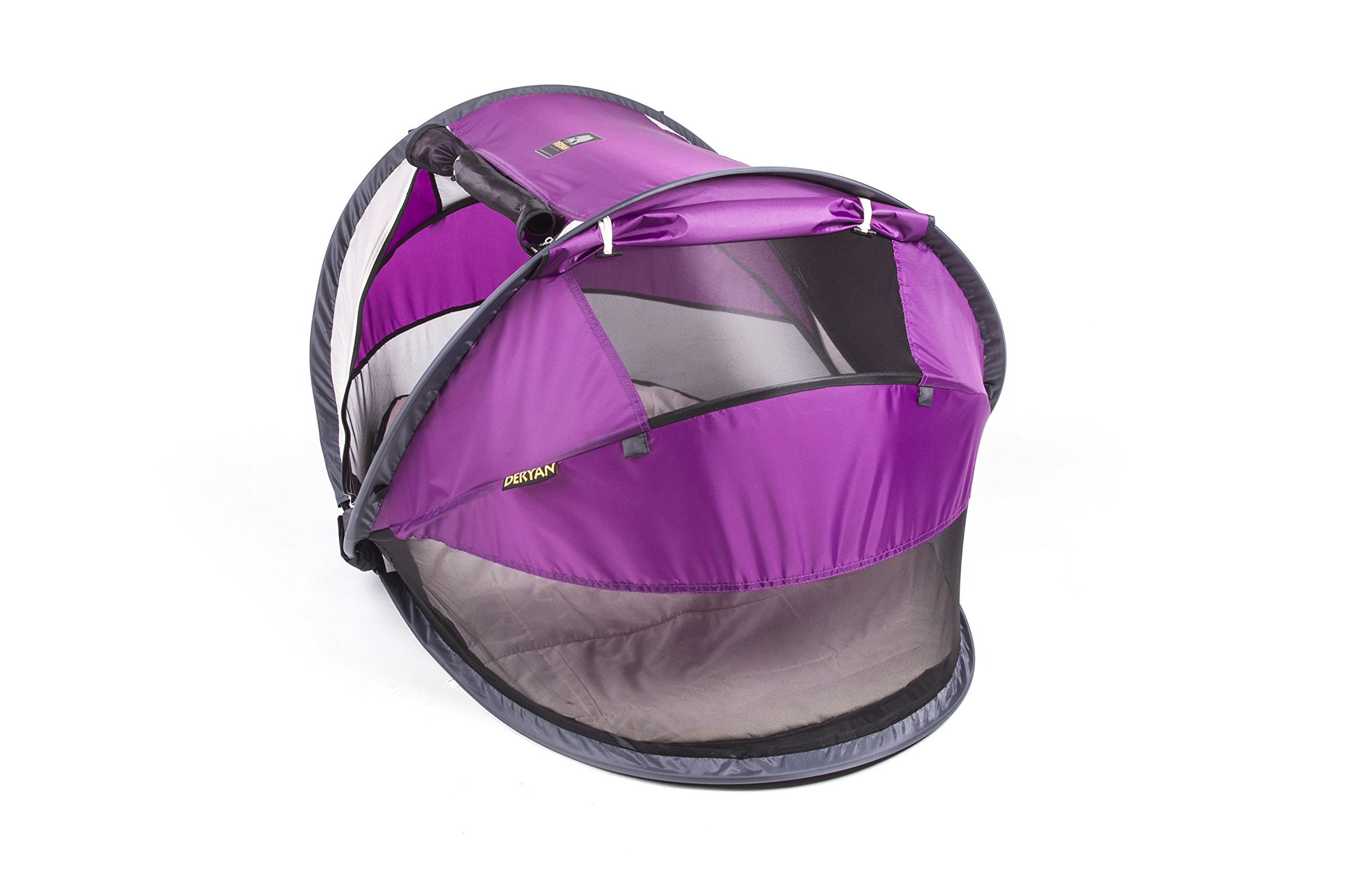 Travel Cot Peuter Luxe (Purple) Deryan 50% UV Protection and flame retardant fabric Setup in 2 seconds and a anti-musquito net  5
