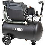 STIER Kompressor LKT 240-8-24, 1100 W, max. Druck 8 bar, 24 Liter Tank, 21 kg, geeignet für Anwendungen z.B. mit Ausblaspistolen, Farbspritzpistolen, Blindnietenpistolen
