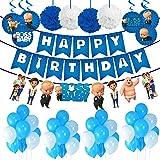 Party Propz Boss Baby Theme Decorations Combo Set - 39Pcs Happy Birthday Banner, Blue White Metallic Balloons, Swirl Decorati