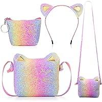 Weewooday 3 Stücke Katze Umhängetasche Geldbörsen Stirnband für Mädchen, Süße Handtaschen für Mädchen Katzen Handtasche…