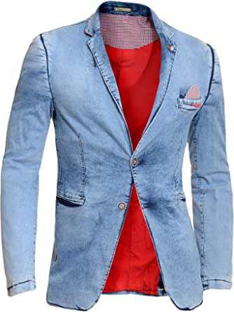 D&R Fashion Men's Casual Denim Blazer Jacket Light Blue Washed Out Cotton Comfort Fit Spring