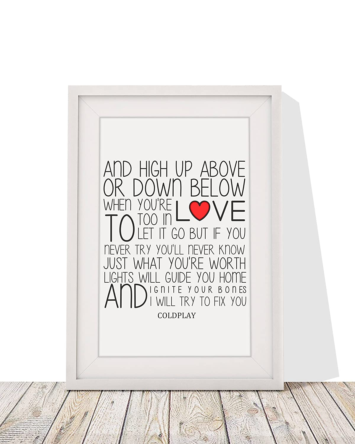 Coldplay fix you song lyrics gift framed print with mount 12 x coldplay fix you song lyrics gift framed print with mount 12 x 10 inch amazon kitchen home jeuxipadfo Gallery