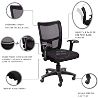"""Seat chacha Brio Home Office Chair with Nylon Base & castors 26""""*24""""*37"""" Office Chair with 360 Degree Swivel & Adjustable Height (Nylon, Black) …"""