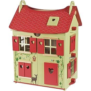 Janod J06585 Casa delle Bambole in Legno, Natura, Rosso / Verde