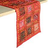 RAJRANG BRINGING RAJASTHAN TO YOU Chemin de Table Patchwork Rajasthani - Coureur de Table Coloré Coton Rouge Luxe Table Basse