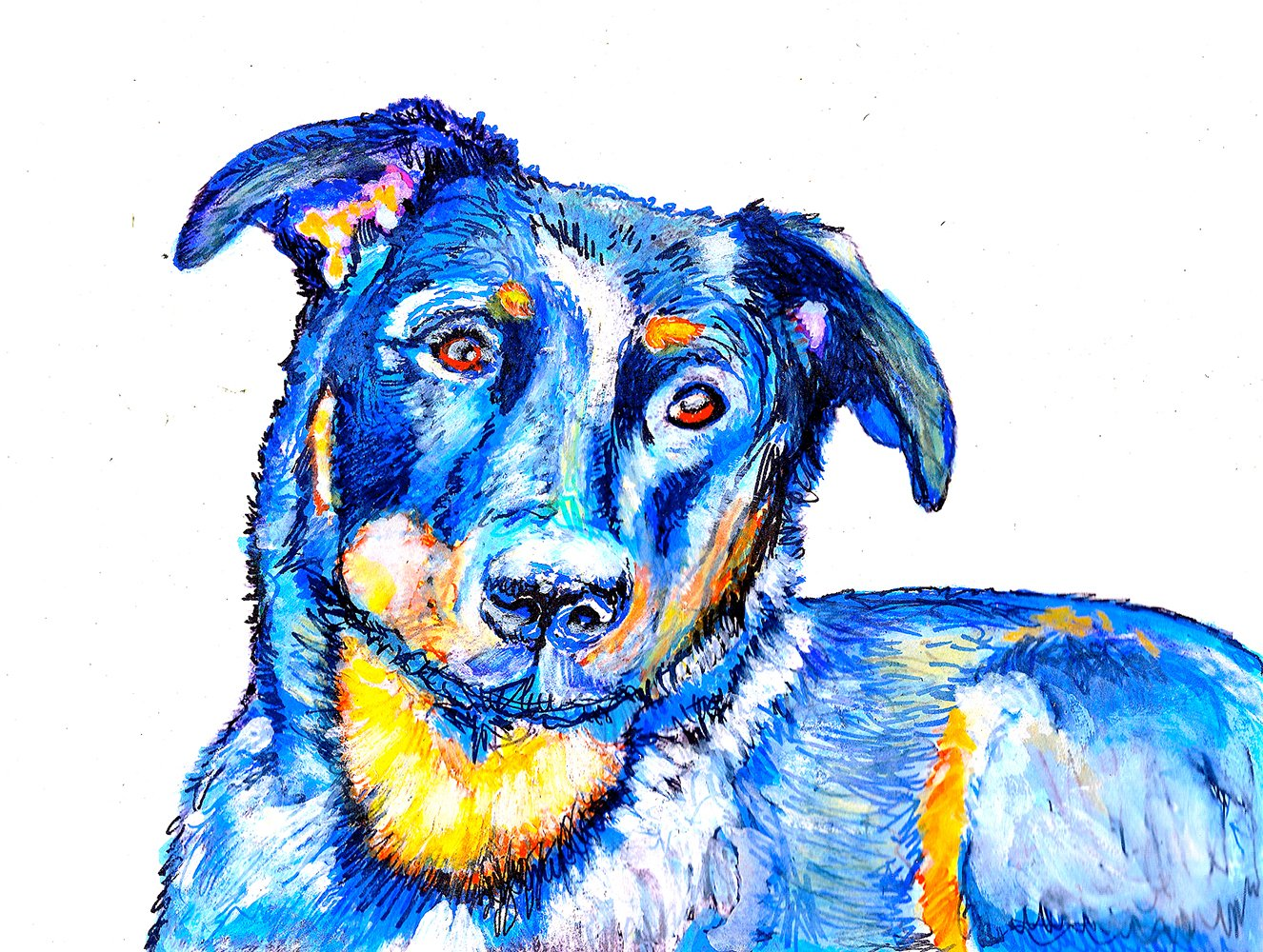Colourful Beauceron, beauceron gifts, Beauceron Wall Art Print, Blue Beauceron Painting, Dog Owner Gift, Dog Picture, Dog Wall Art Print, Beauceron Dog Decor