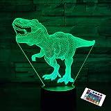 Cadeaux de dinosaure, veilleuse pour enfants dinosaure T-rex 3D veilleuse lampe de chevet avec télécommande 16 couleurs chang