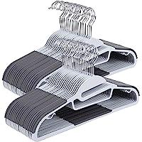 SONGMICS 50 Pack Coat Hangers, Plastic Suit Hangers, S-shaped Opening, Light and Dark Grey CRP41G-50