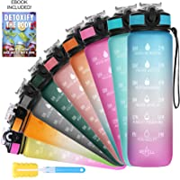 SOLARA Unbreakable Water Bottle 1 Litre with Motivational Time Marker, Leakproof Durable BPA Free Non-Toxic Water bottle…