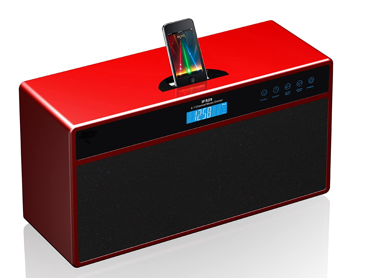ricco 45 w 21 channel rms hifi stereo docking station for ipod and iphone red amazoncouk hifi u0026 speakers