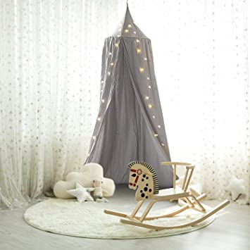 Shayson Princess Bed Canopy Kids Mosquito Net Canopy Cotton Cloth Tents Kids Play Tent for Childrens Room Hanging Decorate Indoor Outdoor Bedroom (Grey) ... & Shayson Princess Bed Canopy Kids Mosquito Net Canopy Cotton Cloth ...