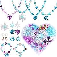Tacobear Bricolage Perles pour Bracelet Collier Kit Fabrication Bijoux avec Flocon De Neige Couronne Coeur Breloques Kit…