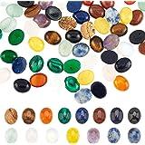 PandaHall 60 cabujones ovalados de piedras preciosas de 15 colores, cuentas de piedra de ágata amatista, cuarzo rosa, cabujon