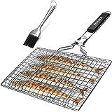 penobon Panier Grille pour Barbecue, Pliable en Acier Inoxydable, pour la Cuisson des Poissons, Légumes ou Crevettes, avec Po