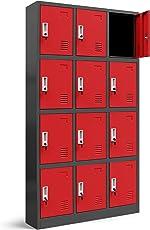 Wertfachschrank 3B4A Schließfachschrank Fächerschrank Metallspind Umkleideschrank Stahlblech Pulverbeschichtung Farbwahl 185 cm x 90 cm x 40 cm (H x B x T) (anthrazit/rot)