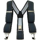 TigerTie Bretelle unisex a forma di Y con 3 clip extra forti – Colore a pois – Lavorazione di alta qualità – Larghezza 35 mm