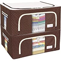 BlushBees Living Box - 600D Oxford Fabric Closet Organizer Cloth Storage Boxes for Wardrobe - 44 Litre, Pack of 2, Polka…