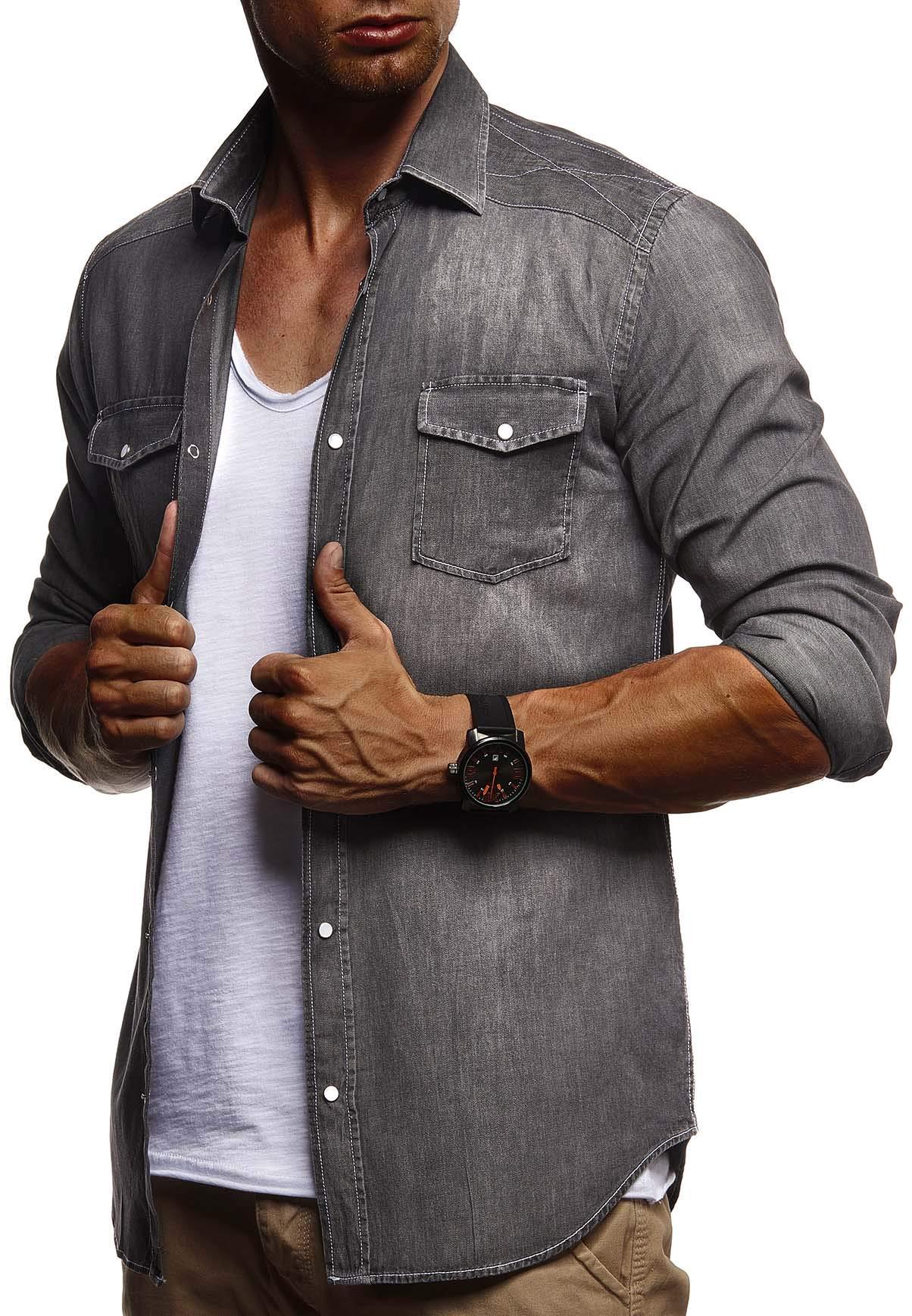 LEIF NELSON Herren Freizeithemd Jeans e9ef22d27a