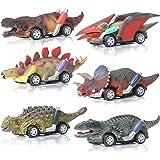 ZWOOS Coches de Juguete de Dinosaurio para Niños, 6 Pcs Pequeños Dinosaurio Tire hacia Atrás Coches Dinosaurio Juguetes Vehíc