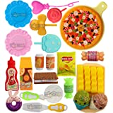 Toyshine 25 Pcs Mini Pizza Party Fast Food Pretend Cooking & Cutting Play Set Toy for Kids (Multi-Color)
