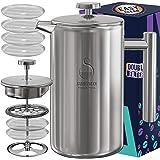 Koffiezetapparaat voor Franse pers, roestvrij staal 34oz dubbelwandige metalen geïsoleerde koffie-theemachines met filtersyst