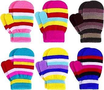 Cooraby 6 Paar Kinder Magic Stretch F/äustlinge Winter Unisex Baby Strickhandschuhe F/äustlinge
