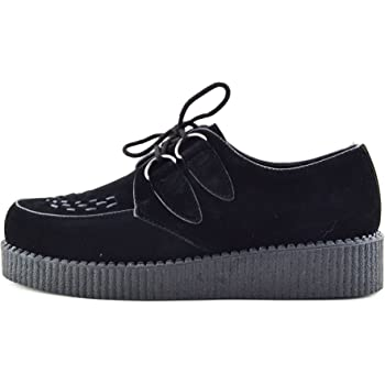 b3c7c327dd2 Kick Footwear Mens Flat Black Platform Teddy BOY LACE UP Goth Punk Creepers  Shoes Boots Size - UK8   EU41 Womens
