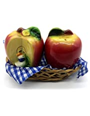 Shopster Small 'Cute Fruits & Vegetables Shaped' Dining Table Salt and Pepper Shakers, 2 Pieces, Green and Red with Basket