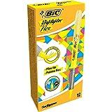 BIC Highlighter Flex Surligneurs - Jaune Fluo, Boîte de 12