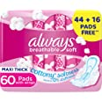 Always Breathable Soft Maxi Thick, Large sanitary pads with wings, 60 pads