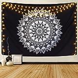 Alishomtll Wandteppich Mandala Tuch Wandtuch Indisch Bohemien Hippie Wandteppich Schwarz und Weiß Wandbehang Tapisserie 130 x