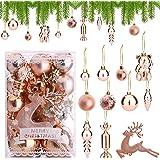 30pz Palline di Natale in oro rosa Ornamenti di palle di Natale Palle di Natale infrangibili 3cm 4cm 6cm Palline di decorazio