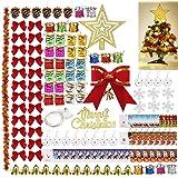 Cozywind 139PCS Bolas de Navidad Decoración del árbol de Navidad con Campanas Colgantes,Adornos,Copos de Nieve para Festivale