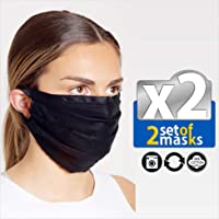 Unisex Set of 2pcs Reusable Protection Washable Face Mask Facial Skin Mouth Filter Option Nose Bridge Anti Smoke Breathable Pollution Motorcycle Bike Sport (Black, Large)