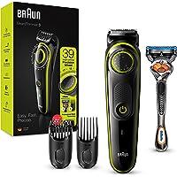 Braun Barttrimmer BT3241 Trimmer und Haarschneider für Herren, 39 Längeneinstellungen, schwarz/volt-grün
