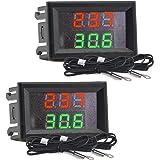 2 st Mini DC 4-28 V dubbel display digital termometer med NTC vattentät metallsond temperatursensor testare bilrum inomhus (r