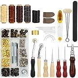 Fixm Kit Couture pour Le Cuir 28 pcs, Set de 28 Outils pour Coudre Le Cuir avec Poinçon, Rainette, Fil à Coudre Ciré, des à C
