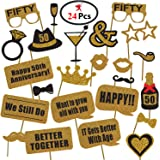 Party Propz™ 50th Anniversary Photobooth Props Set of 24 Pieces / 50th Anniversary Party Supplies / 50th Anniversary Photo Bo