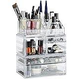 Relaxdays Organizador de Maquillaje con 21 Compartimentos, Fibra Acrílica, Transparente, 29.5x23.5x14 cm