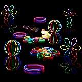 Relaxdays 100 glowsticks incl. 104 x 3D-connectoren, 8 uur verlichtingsduur, glow stick, lichtstaven professionele kwaliteit,