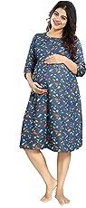 Mamma's Maternity Denim Star Print Maternity Dress