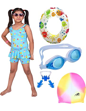 323aab3ad THE MORNING PLAY Girls Swimming Kit with Swimming Costume Swimming Goggles  Swim Ring Swimming Cap Ear