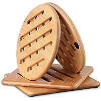 Conisy Resistenti al Calore Sottopentola in bambu Adatti per la superficie della cucina   4 Pezzi sottobicchieri  15cm
