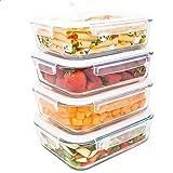 LG Luxury & Grace Lot de 4 Boîtes Alimentaires en Verre 1500 ML. Récipient Hermétique avec Valve de Vapeur. Boîtes de Conserv