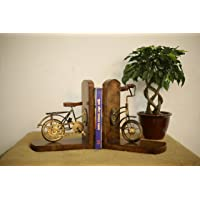 MASTER'S TRAIL Bronze Bicycle Mango Wooden Bookend L-shape with Table Decor (8 x 9 inches, Brown)