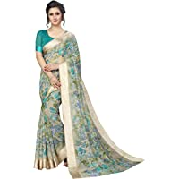 PERFECTBLUE Women's Blend Linen Saree With Un-stitched Blouse